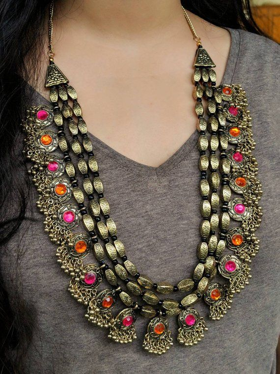 Indian Jewelery earrings,ethnic traditional necklace German Silver,high quality handmade AD stones indian jewellery antique look