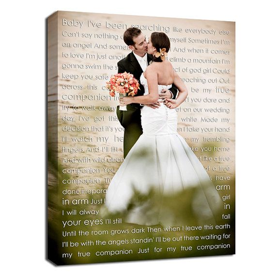 Cotton Anniversary Gift, Personalized canvas with photo and words love letters, Your words Wedding Canvas