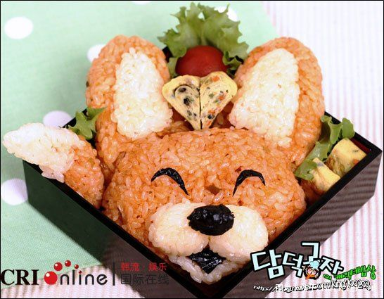 Crazy Sushi Art :   #7  The Fox in the Box    Japanese call this a Bento Box and it's so adorable with the Happy Fox Pokemon Vulpix!  Notice the paw coming out on the left side?   Click on the image to see the full list of : Crazy Sushi Art :