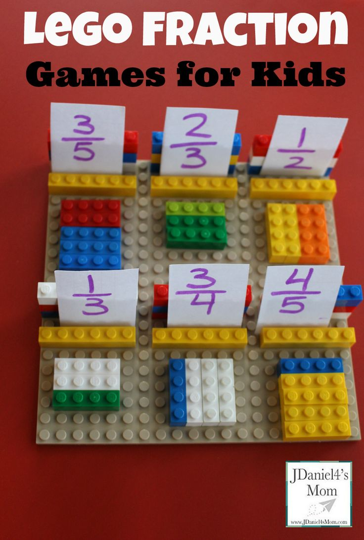Lego Fraction Games for Kids - this is such a fun, hands on way for kids from Kindergarten, 1st grade, 2nd grade, and 3rd grade to learn about fraction in math. From @jdaniel4smom