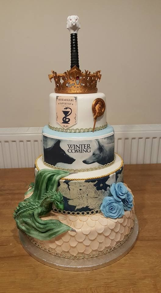 Game of Thrones Wedding Cake  w/Dire Wolves, Dragon, Crown & Sword