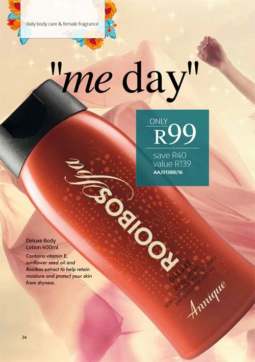 Annique September 2017 Beauté Deluxe body lotion Purchase any of these months awesome #Annique #Specials from our online store AND earn rewards while you're there. #rooibosmiracle  https://rooibos-miracle.co.za/store/