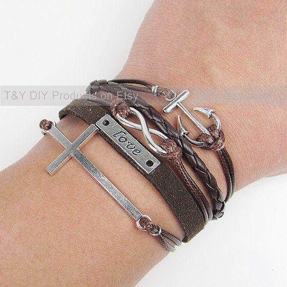 Infinity Bracelet, Love Bracelet, Cross Bracelet, Anchor Bracelet, Antique Silver Charm Bracelet, Braid Bracelet Adjustable Leather Bracelet on Etsy, $8.99