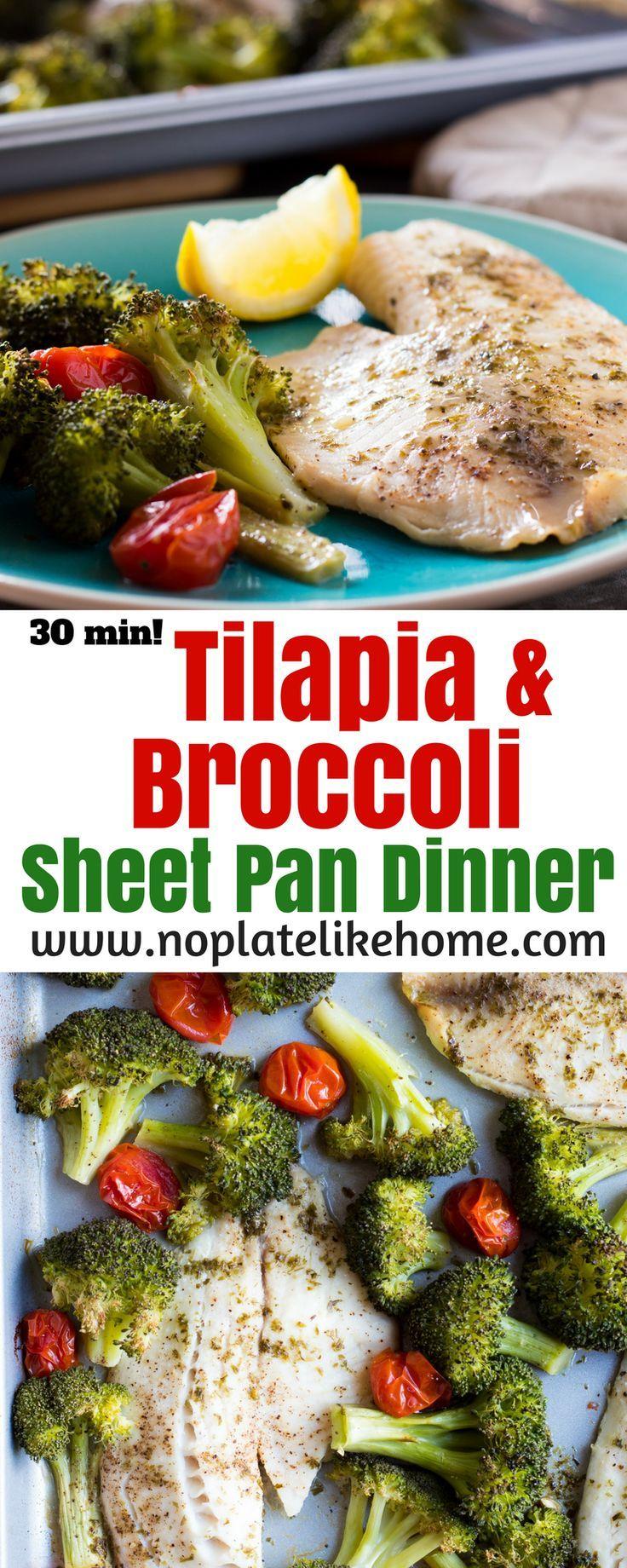 Broccoli and Tilapia sheet pan dinner