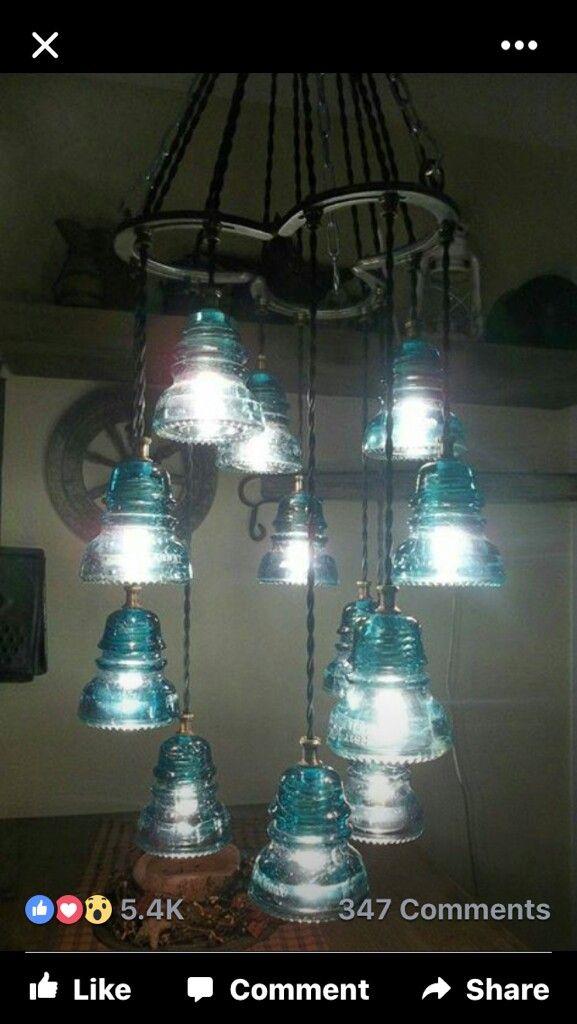 Antique Electric Insulators Reburbished Lights