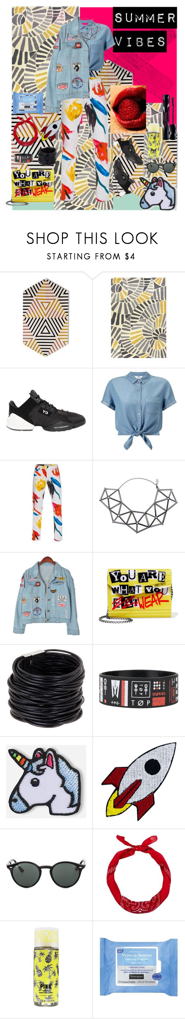 """Summer vibes"" by stapleluc on Polyvore featuring Jaipur Rugs, Y-3, Miss Selfridge, Paul Smith, WXYZ by Laura Wass, Chicnova Fashion, Jimmy Choo, Saachi, Hipstapatch and Ray-Ban"