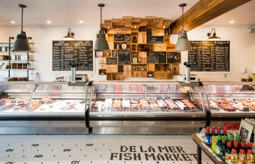 De La Mer is a neighbourhood fish market in Toronto, with a large selection of organic, naturally raised, sustainably caught and farmed, fresh fish and seafood. For this boutique seafood shop, we set out to create a classic yet modern brand that would stand the test of time and feel like an established part of the community, while still conveying a current and streamlined sensibility. Classic literary quotes featured throughout the space serve as a touchstone to a past era. Custom…