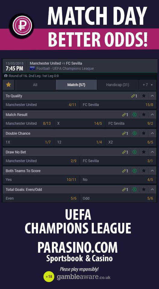13.03.2018: Manchester United vs FC Sevilla    UEFA CHAMPIONS LEAGUE - MATCH DAY   BETTER ODDS! PLAY AND WIN!    Manchester United vs FC Sevilla  #parasino #matchday #betterodds  https://www.parasino.com/
