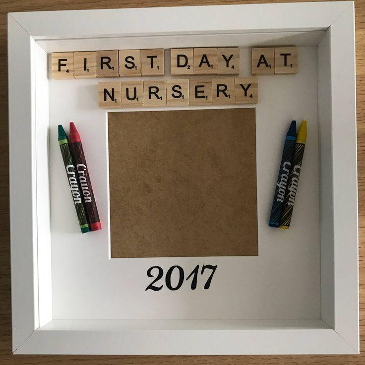 First day at nursery frame, preschool frame, nursery 2017, memory frame, keepsake frame, nursery keepsake, first day frame, nursery scrabble by FrameitUnitedKingdom on Etsy