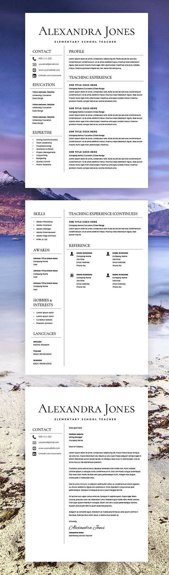 Teacher Resume - Teacher CV - CV Template - Free Cover Letter - MS Word - Educator Resume - Elementary Resume - Resume Teacher - Creative