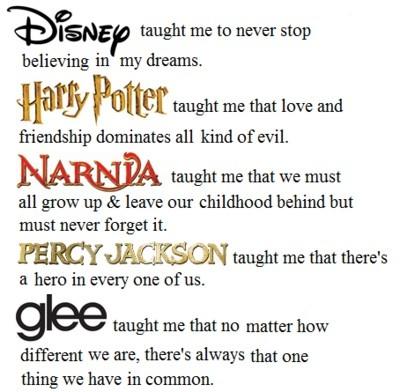 quote, disney, harry potter, narnia, glee, percy jackson