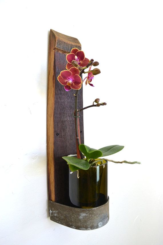 Wall Hanging Wine Bottle orchid Holder V8 by winecountrycraftsman