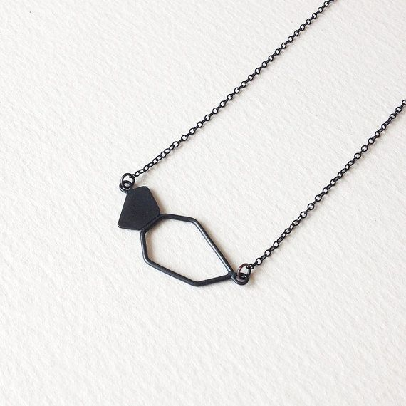 Geometric Chain Necklace Oxidized Sterling Silver by RawObjekt
