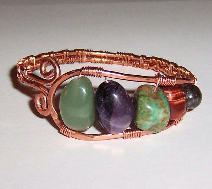 Copper Wire Wrapped with Green Aventurine, Amethyst, Jade, Tigereye Bracelet #Handmade #Cuff