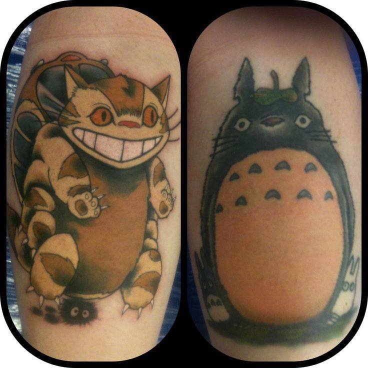 totoro & a catbus tattoo by Kyle Smith, Glasgow