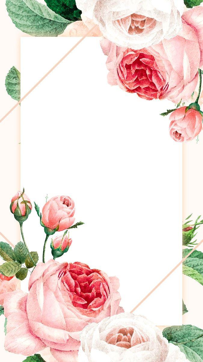 Download Premium Vector Of Blank Floral Golden Frame Mobile Phone Molduras De Luxo Imagens Para Quadros Decorativos Planos De Fundo