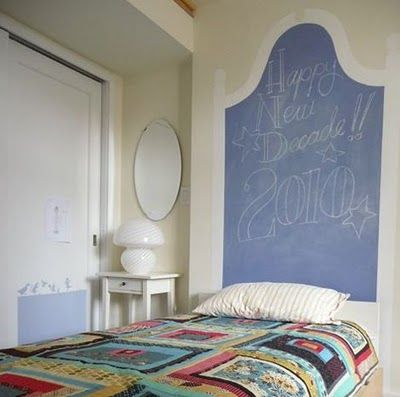"Chalkboard Headboards :) OMG how awesome to leave ""good night /good morning "" notes to each other !! Or to kids if its in their room!! LOVE THIS!!! Could be tons of fun!!! (i'd use a damp cloth to erase so it wouldn't leave chalk dust on the bedding)"