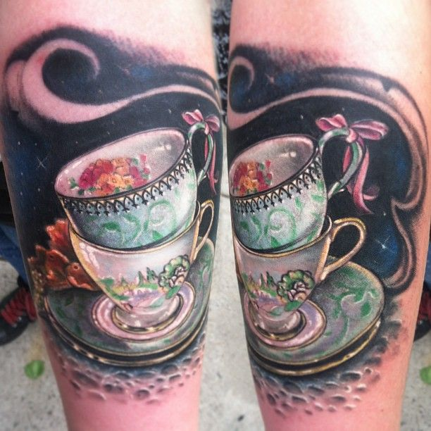 Teacup Tattoo by Johnny Smith, Off the Map Tattoo - Resident Artist