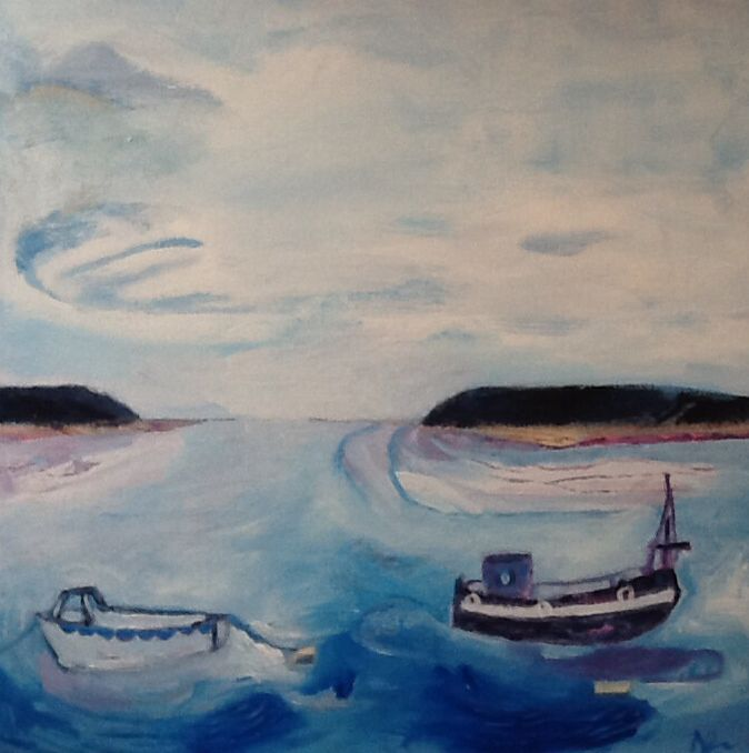 Messing about on the river - nathan Davies - Cornish collection - mixed media on unprimed canvas