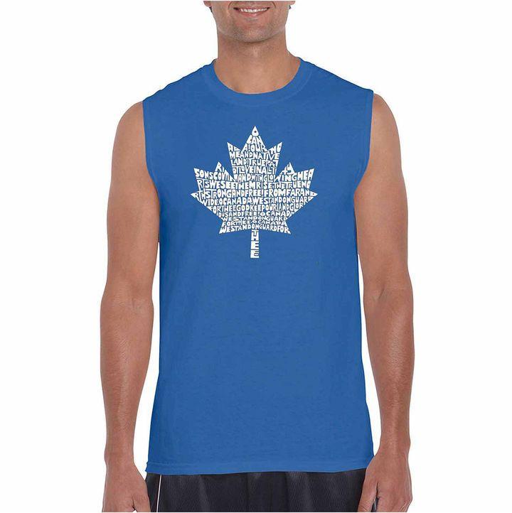 LOS ANGELES POP ART Los Angeles Pop Art Sleeveless Canadian National Anthem Word Art T-Shirt