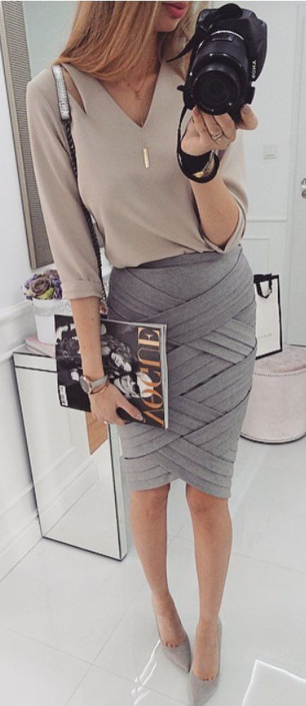 office style inspiration: blouse + skirt
