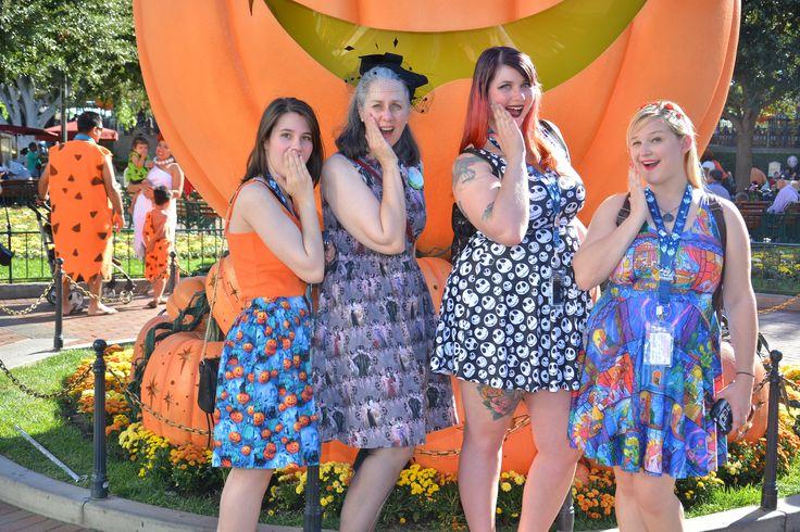 Left to right:  little sister in Halloween Jack-o-lantern skirt, me in Disney Villainesses New Look 6723, next two sporting Black Milk Skater dresses.