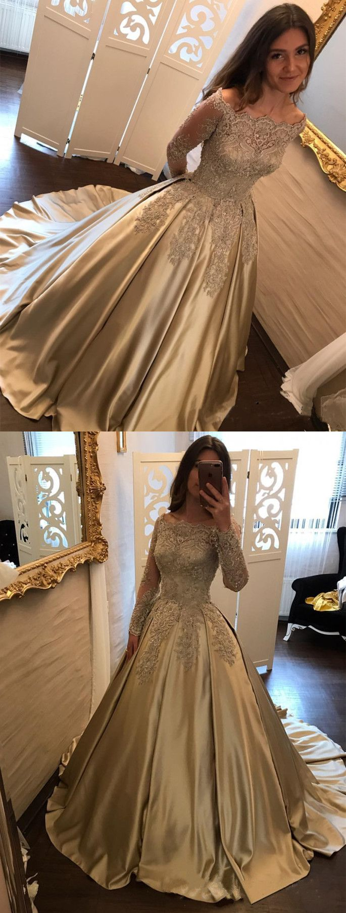 gold satin ball gowns,long sleeves prom dress,gold wedding dress lace long sleeves