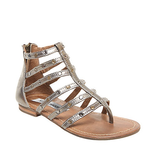 BISCUT SILVER LEATHER children sandal flat strappy - Steve Madden #kids