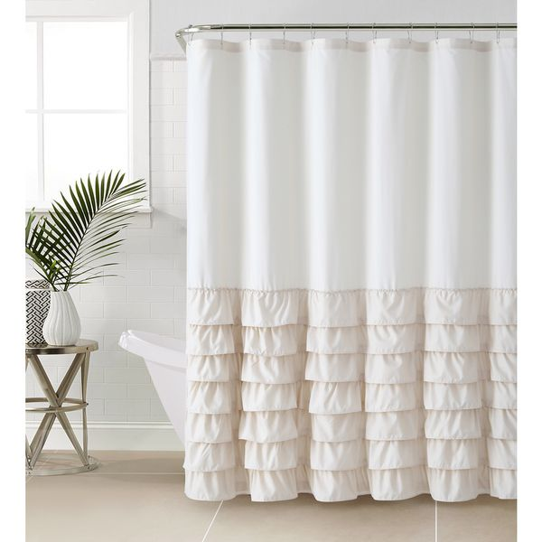 add a touch of chic with this beautiful melanie ruffle shower curtain featuring rows of ruffles