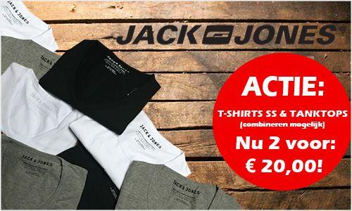 Het is gelukkig eindelijk t-shirtjes weer en daar haken we graag op in met de volgende aanbieding:  Alle Jack & Jones shirts met korte mouwen én de tanktops zijn los te koop voor € 12,95 maar wij bieden er 2 aan voor € 20,- dus daarmee pak je bijna € 6,- voordeel!!!  Alle maten, kleuren en modellen zijn te combineren (herkenbaar aan het rode actie label). Shop ze snel bij Twyst.  #jackjones #shirts #underwear #ondergoed #voordeel #zon