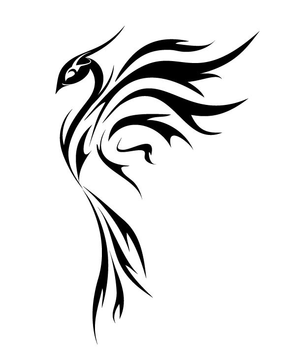 Phoenix tattoo by ~benynn on deviantART // I have this one in brown on my  left shoulder. Five years later, still love it. :-)