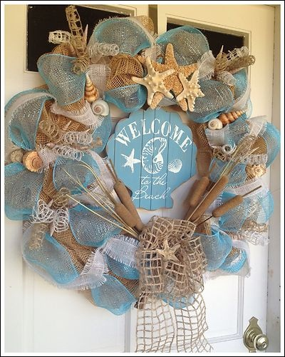 """Welcome to The Beach"" Seashell Natural Burlap Deco Mesh Shell Wreath 