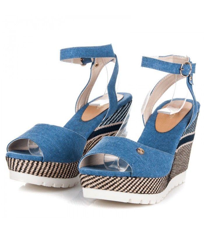 Pohodlné sandále na kline so vzorom 6107-13D.BL