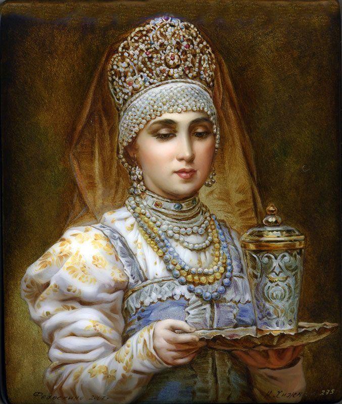 Khizhnyak N. , Fedoskino lacquer box, Russian girl