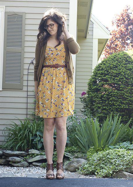 yellow floral dress + cardi