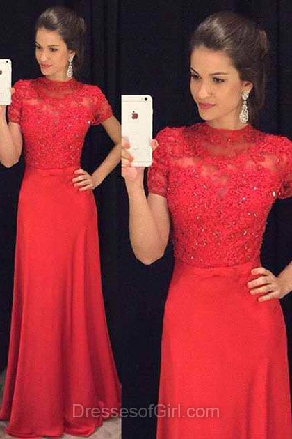 Short Sleeve Prom Dresses, Chiffon Prom Dress, High Neck Evening Gowns, Sheath Party Dresses, Red Formal Dresses