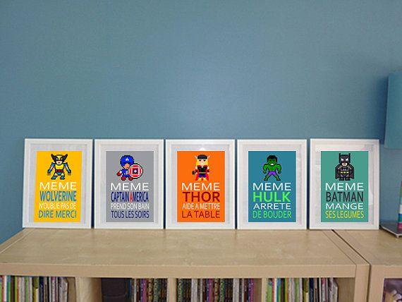 5 affiches superhéros et citation humoristique pour par alexiableu