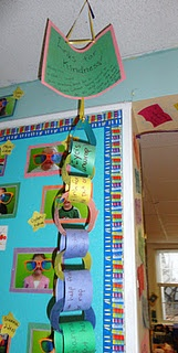 """In 4th grade, these were called CAKE notes! """"Catching Acts of Kindness Everywhere""""  Throughout the week, students would """"catch their friends sharing acts of kindness and put them in the box.  At """"family circle,"""" the notes were read and made into a chain.  If we made the chain around the whole room, there was a special day at the end of the year."""