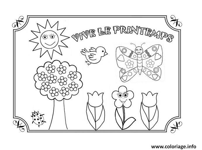 Dessin Vive Le Printemps Maternelle Coloriage Gratuit A Imprimer Dessin Printemps Maternelle Coloriage Printemps Coloriage Printemps Maternelle