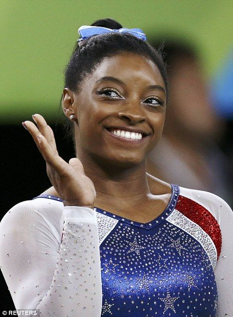Simone Biles on Thursday. Queen B of the sport, since Biles (pictured above on Thursday) is a three-time world all-around champion