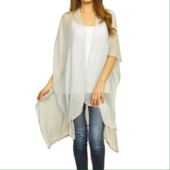 Nwt, Osfa Ribbon Edge Sheer Kimono