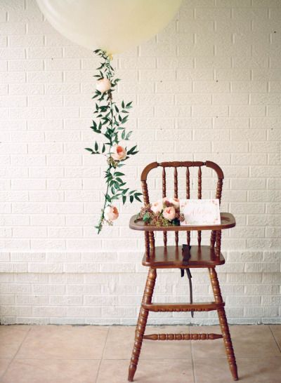 Birthday highchair: http://www.stylemepretty.com/living/2015/06/03/french-garden-1st-birthday/   Photography: Michele Hart - http://michelehartphotography.com/