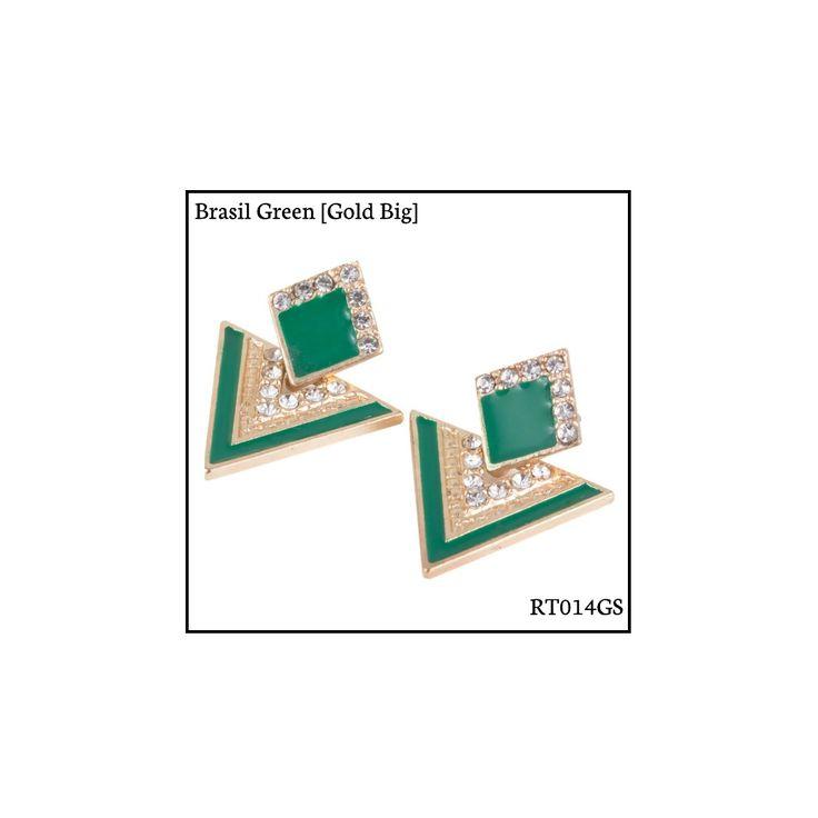 Ref: RT014GS Brasil Green [Gold Small] . Medidas: 2.5 cm x 2 cm . So Oh: 3.99 . Disponível para entrega imediata! Boas compras! #sooh_store #onlinestore #rhombus #trigonal #brincos #earrings #fashion