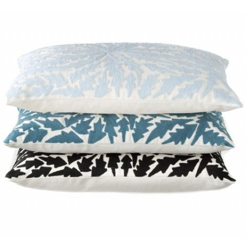 Leaves Chainstitch -gorgeous soft cushions for bedrooms sourced by Ornella Botter Interiors.