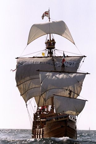 13 Aug 1998: The Matthew, a replica of the 15th century ship sailed by John Cabot from Bristol to Newfoundland, arrives in Douarnenez, France after recreating the return leg of that voyage (except the original Matthew went back to Bristol) with the sponsorship of Crest Homes.