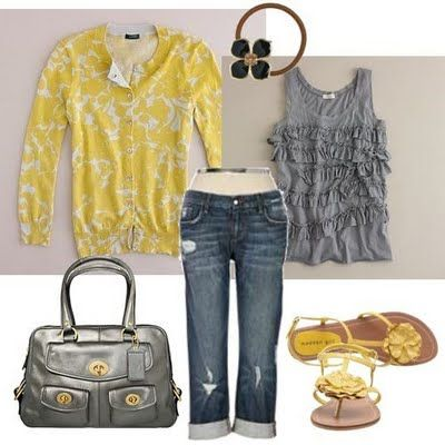 Yellow and gray: Cardigans, Shoes, Sweaters, Style, Color Combos, Yellow Outfit, Grey Yellow, Gray, Spring Outfit