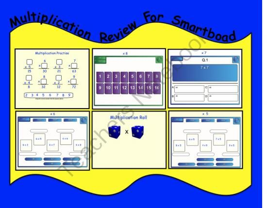 Multiplication Review for Smartboard from Teaching The Smart Way on TeachersNotebook.com (6 pages)  - Muliplication Games for Smartboard