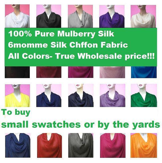 Tissu mousseline de soie mûrier naturel pur Swatch ou par le matériau pure Yards pour les rabais de gros