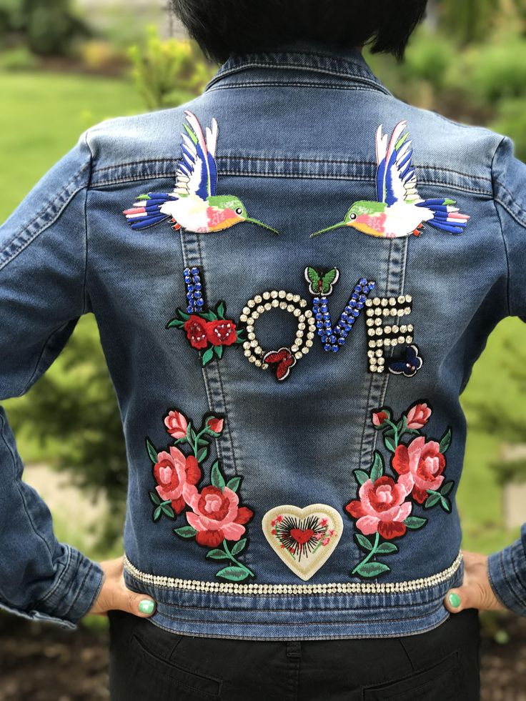 GARDEN OF LOVE: Embroidered Hummingbirds, Blue Denim Jacket with birds, Gemstone Love, Butterflies, Roses, Heart Patches, gemstone belt by Theartofdenim on Etsy