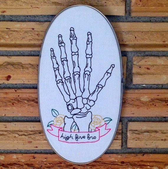 Skeleton High Five~ Unique Embroidery~ Skeletal Wall Decoration~ Phalanges